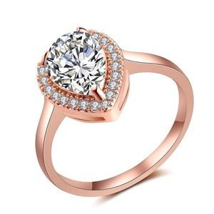 Jewelry - Teardrop Pear Rose Gold Cubic Zirconia Engagement